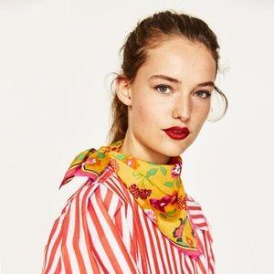 Zara Floral Summer Spring Vivid Print Square Scarf